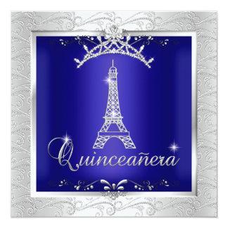 Torre Eiffel de la tiara de la plata del azul real Invitación 13,3 Cm X 13,3cm