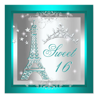 Torre Eiffel de la tiara del trullo del dulce Invitación 13,3 Cm X 13,3cm