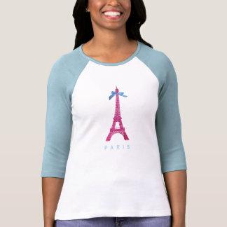 Torre Eiffel de las rosas fuertes en falso brillo Camiseta