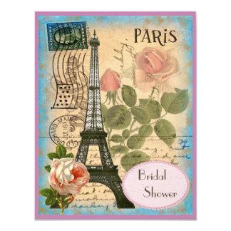 Torre Eiffel de los pares y ducha nupcial de los Invitación 10,8 X 13,9 Cm
