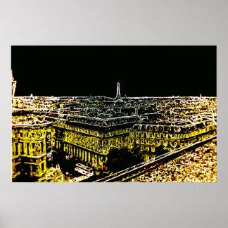 Torre Eiffel de los tejados de París Póster