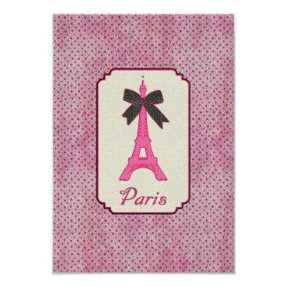 Torre Eiffel de París arco rosados y negros del Invitación 8,9 X 12,7 Cm