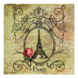 Torre Eiffel de París y rosa rojo Comunicado