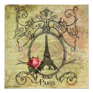 Torre Eiffel de París y rosa rojo Invitación 13,3 Cm X 13,3cm