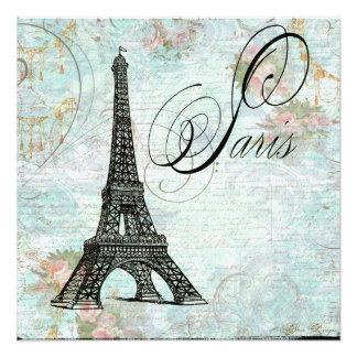 Torre Eiffel de París y rosas rosados Comunicado Personalizado