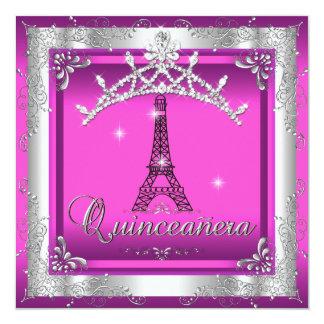 Torre Eiffel de plata rosada de la tiara de Anuncio Personalizado
