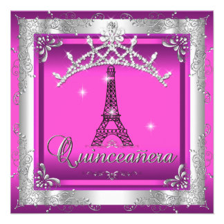 Torre Eiffel de plata rosada de la tiara de Quince Anuncio Personalizado