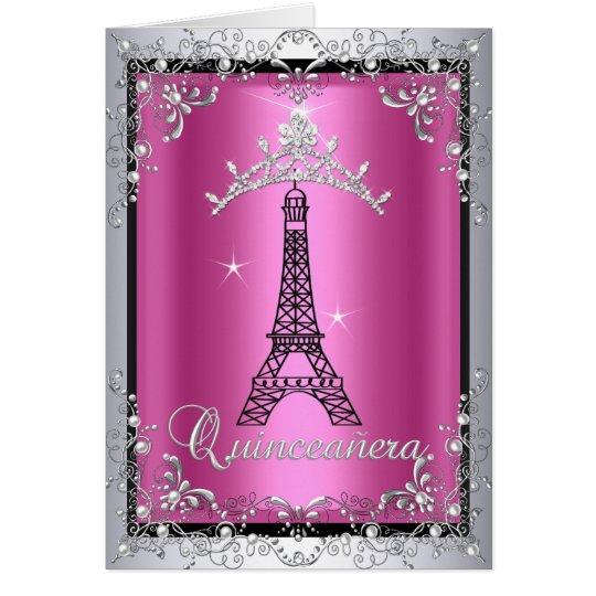 Torre Eiffel de plata rosada de la tiara de Tarjeta De Felicitación