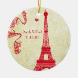 Torre Eiffel del navidad Adorno Redondo De Cerámica