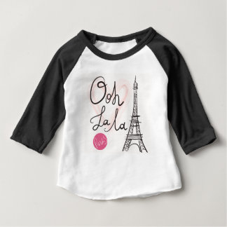 Torre Eiffel dibujada mano Camiseta De Bebé