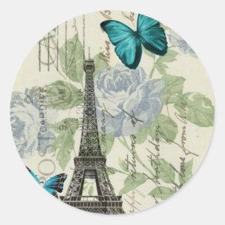 torre Eiffel elegante de la mariposa del vintage Pegatina Redonda