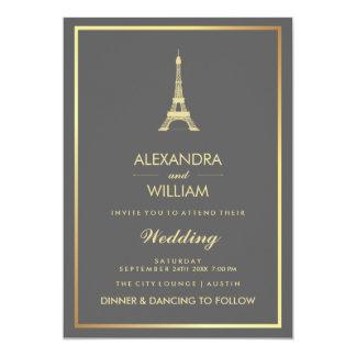 Torre Eiffel elegante del oro en el boda gris Invitación 12,7 X 17,8 Cm