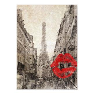 Torre Eiffel elegante lamentable de París del beso Invitación 12,7 X 17,8 Cm