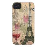 Torre Eiffel elegante lamentable de París y vino r iPhone 4 Fundas
