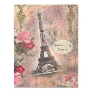 Torre Eiffel elegante lamentable del brunch del Invitación 10,8 X 13,9 Cm