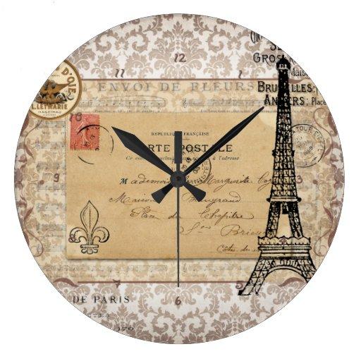 Torre eiffel elegante lamentable del vintage de pa reloj - Relojes vintage de pared ...