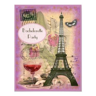 Torre Eiffel elegante lamentable y vino rojo Invitación 10,8 X 13,9 Cm