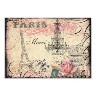 Torre Eiffel elegante y lámpara Merci Invitación 8,9 X 12,7 Cm