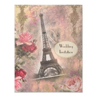 Torre Eiffel elegante y rosas que casan la Invitación 10,8 X 13,9 Cm