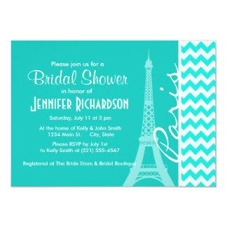 Torre Eiffel en el color Chevron de la aguamarina Invitación 12,7 X 17,8 Cm