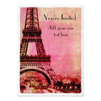 Torre Eiffel en el estilo del vintage de la puesta Invitación 12,7 X 17,8 Cm