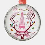 Torre Eiffel en el ornamento de la primavera Adorno De Navidad