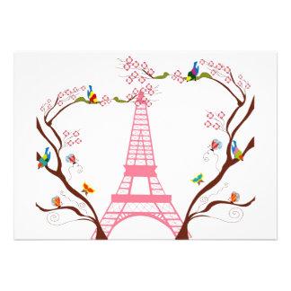 Torre Eiffel en la invitación de la primavera