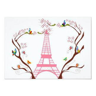 Torre Eiffel en la invitación de la primavera Invitación 12,7 X 17,8 Cm