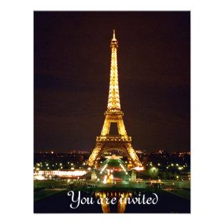 Torre Eiffel en la noche - color Invitacion Personalizada
