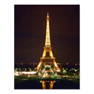 Torre Eiffel en la noche - color Invitación 10,8 X 13,9 Cm