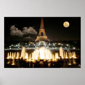 Torre Eiffel en la noche Póster