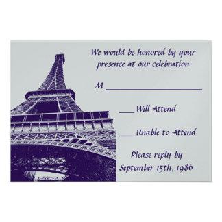 Torre Eiffel en las tarjetas púrpuras de RSVP Invitación Personalizada