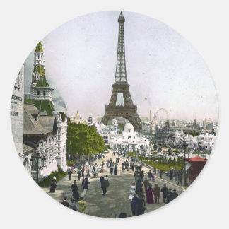 Torre Eiffel Exposición Universal de Paris Pegatina Redonda