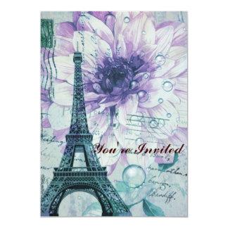 torre Eiffel floral púrpura de París del vintage Invitación 12,7 X 17,8 Cm