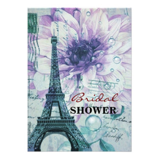 torre Eiffel floral púrpura de París del vintage Comunicado