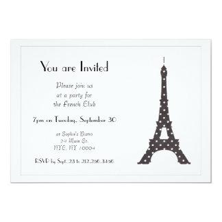 Torre Eiffel francesa blanco y negro de los Invitación 12,7 X 17,8 Cm