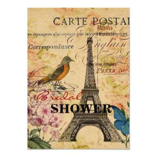 Torre Eiffel francesa floral de París del pájaro Invitación 11,4 X 15,8 Cm