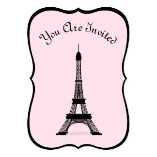Torre Eiffel francesa rosada y negra elegante del Invitación 12,7 X 17,8 Cm