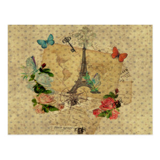 Torre Eiffel hermosa del collage de las postales d