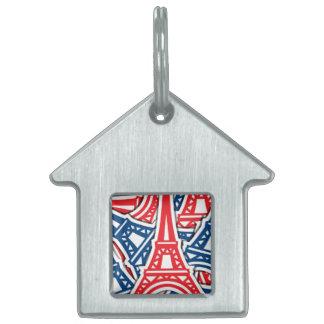 Torre Eiffel, modelo de Francia Placa Para Mascotas