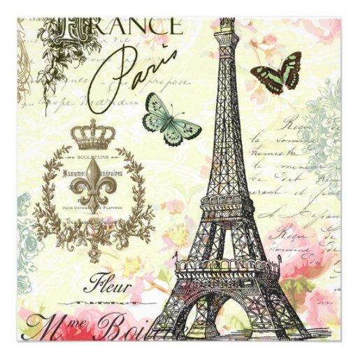 torre Eiffel moderna del francés del vintage Comunicado Personalizado