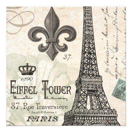 torre Eiffel moderna del francés del vintage Invitaciones Personales