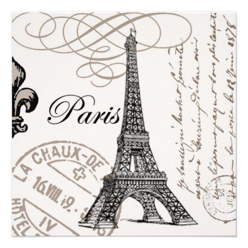 torre Eiffel moderna del francés del vintage Invitaciones Personalizada
