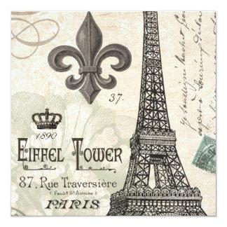 torre Eiffel moderna del francés del vintage Invitación 13,3 Cm X 13,3cm