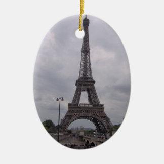 Torre Eiffel - ornamento Adorno Navideño Ovalado De Cerámica