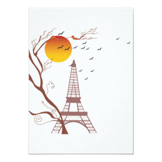 Torre Eiffel, otoño Invitación 12,7 X 17,8 Cm