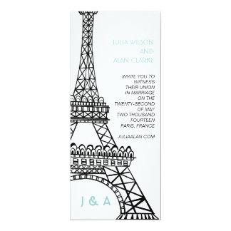 Torre Eiffel parisiense azul de la invitación del