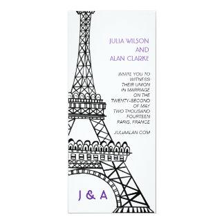 Torre Eiffel parisiense de la púrpura de la Invitación 10,1 X 23,5 Cm