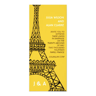 Torre Eiffel parisiense del amarillo de la Invitación 10,1 X 23,5 Cm