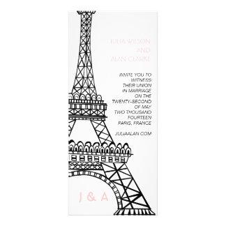 Torre Eiffel parisiense del rosa de la invitación